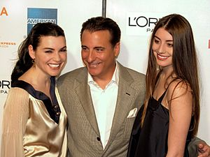 Andy García - At the 2009 Tribeca Film Festival with Julianna Margulies (left) and his daughter Dominik García-Lorido