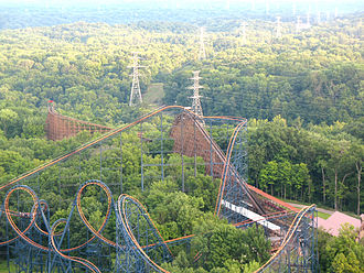 The Beast (roller coaster) - The Beast is located at the back of the park, near Vortex