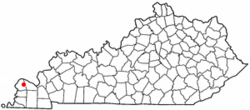 Location of Kevil, Kentucky