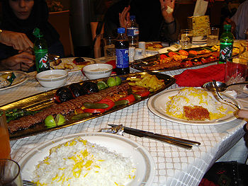 Typical table setting and elements of a popular Iranian dish.