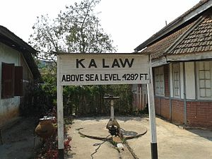 Kalaw - Kalaw Train station sign altitude