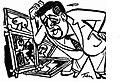 Karikatur zu den Herausforderungen Claude Bonin-Pissarros bei French Paintings Today.JPG