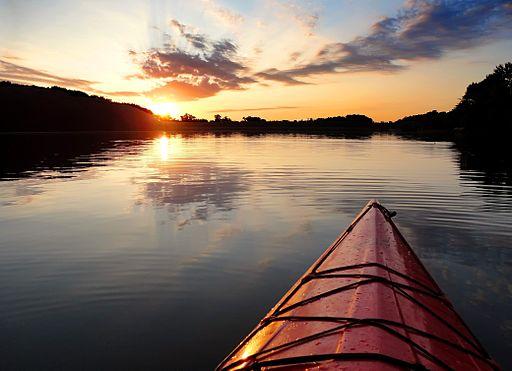 Kayak sunset Lake Ahquabi State Park