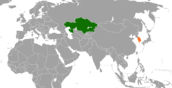 Map indicating locations of Kazakhstan and South Korea