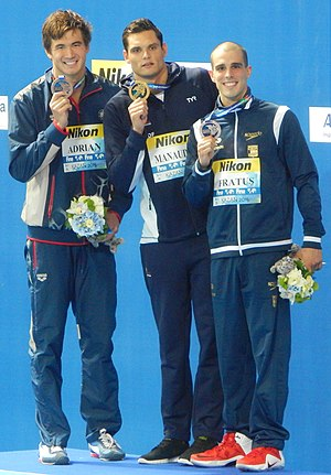 Bruno Fratus - 50m freestyle victory ceremony at Kazan 2015