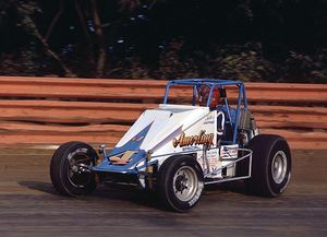 Keith Kauffman - Kauffman racing a wingless sprint car in 1986