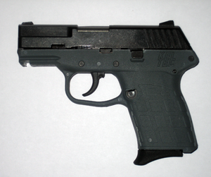 Side view of a Kel-Tec PF-9 9mm, semi-automati...