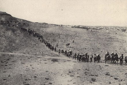 Christians fleeing their homes in the Ottoman Empire, circa 1922. Many Christians were persecuted and/or killed during the Armenian Genocide, Greek Genocide, and Assyrian Genocide.[494]