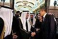 King Salman bin Abdulaziz of Saudi Arabia bids farewell to President Barack Obama at Erga Palace in Riyadh, Saudi Arabia.jpg