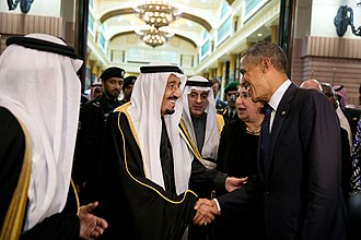 "Barack Obama with King Salman of Saudi Arabia, January 2015. According to Amnesty International, ""For too long, the USA has shied away from publicly confronting Saudi Arabia over its human rights record, largely turning a blind eye to a mounting catalogue of abuses."" King Salman bin Abdulaziz of Saudi Arabia bids farewell to President Barack Obama at Erga Palace in Riyadh, Saudi Arabia.jpg"