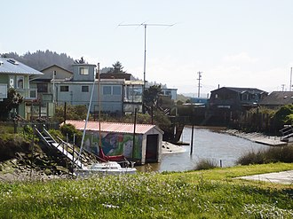 King Salmon, California - Houses are built along canals in King Salmon