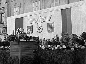 Protectorate of Bohemia and Moravia - Jaroslav Krejčí giving a speech in Tábor.
