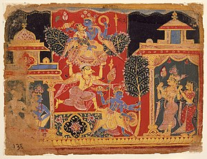 Nyctanthes arbor-tristis - Krishna Uproots the Parijata Tree, manuscript from a Bhagavata Purana.