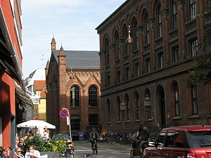 Krystalgade - The former Museum of Zoology (right) and Copenhagen University Library (left) viewed from Krystalgade
