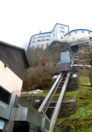 Festungsbahn (Kufstein) - The Kaiser Maximilian Funicular at Kufstein Fortress in 2016