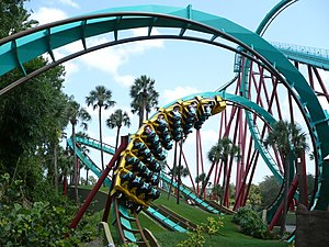 Busch Gardens Tampa - Kumba, a signature roller coaster to the park upon opening, entering the first interlocking corkscrew
