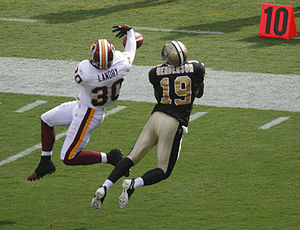 LaRon Landry - Landry covering Devery Henderson during the 2008 NFL season.