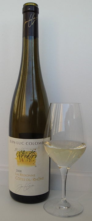 Côtes du Rhône AOC - A white Côtes du Rhône wine, in this case dominated by Viognier and Roussanne.