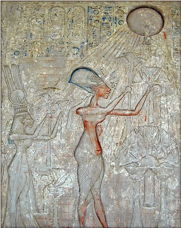 Pharaoh Akhenaten and his family adoring the Aten