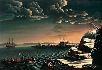Pilgrims (Plymouth Colony) - Landing of the Pilgrims by Michele Felice Cornè, circa 1805. Displayed in the White House