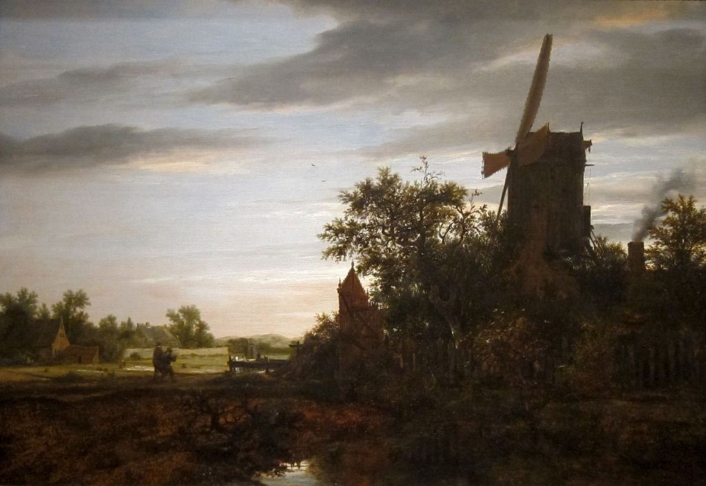 FileLandscape with a Windmill oil on wood painting by