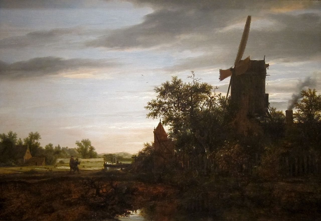 File Landscape With A Windmill Oil On Wood Painting By