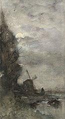 Paysage avec moulin au clair de lune