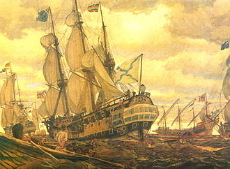 Russian Navy - Eugene Lanceray. Fleet of Peter the Great (1709).