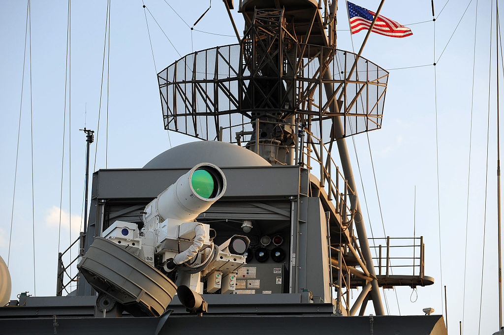 Laser Weapon System aboard USS Ponce (AFSB(I)-15) in November 2014 (05).JPG