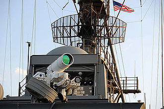 USS Portland (LPD-27) - Image: Laser Weapon System aboard USS Ponce (AFSB(I) 15) in November 2014 (05)