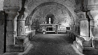 Chad of Mercia - The altar in Lastingham crypt, probable site of the early Anglo-Saxon church where Cedd and Chad officiated at Eucharist.