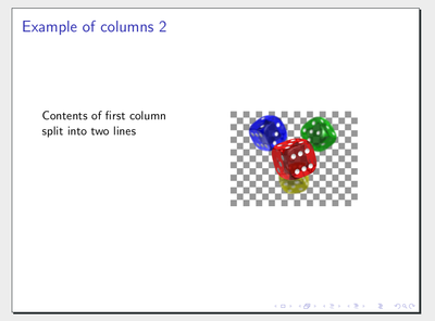 Example of columns in Beamer
