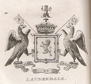 Earl of Lauderdale - Arms of the Earls of Lauderdale as shown in Brown's The Peerage of Scotland, 1834
