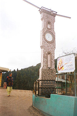 A clock tower in the main town square