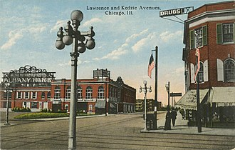Albany Park, Chicago - Intersection of Lawrence Avenue and Kedzie Avenue in 1915.