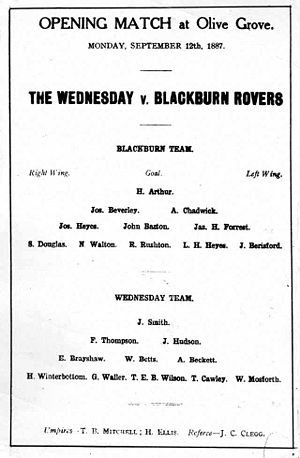 Olive Grove - Leaflet advertising the opening match at Olive Grove between 'The Wednesday' and Blackburn Rovers.
