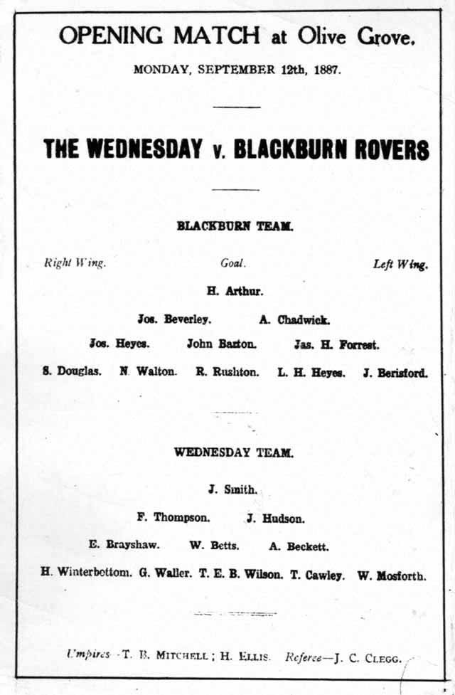 Leaflet advert for blackburn rovers match-1887