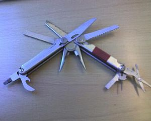 Hiking equipment - A heavier multi-tool may be belt-carried.
