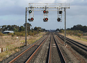 Regional Fast Rail project - Modern LED railway signals at Lara, Victoria.