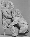 Left corner of a marble sarcophagus- Herakles and the Nemean Lion MET 120405.jpg