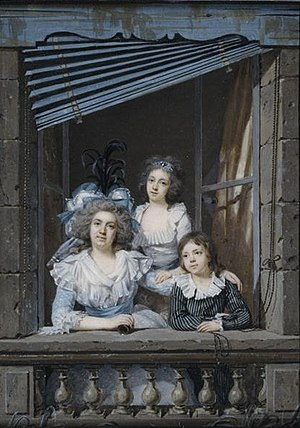 Jacques-Antoine-Marie Lemoine - Portrait of a Woman with Her Son and Daughter in a Balcony Window (1787), an oil painting by Jacques-Antoine-Marie Lemoine