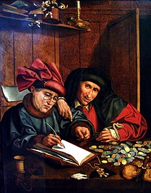 The Money Counters (circa 1575-1600): Two men at a table counting money and recording it in a ledger.