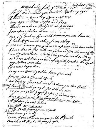 Cornish literature - William Bodinar's letter, dated 3 July 1776