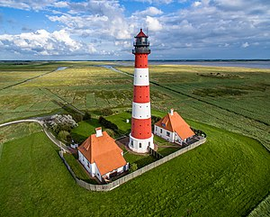 Westerheversand Lighthouse - Aerial view of the lighthouse, circa 2015.
