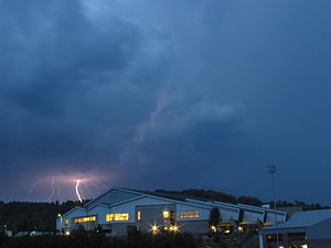 University of North Carolina at Asheville - Lightning over the Wilma M. Sherrill Center.