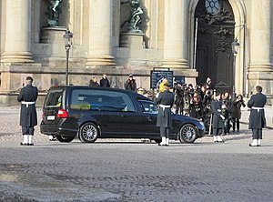 Princess Lilian, Duchess of Halland - Hearse with Lilian's coffin leaves Stockholm Palace for the Royal Cemetery on 16 March 2013.