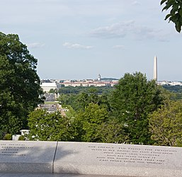 Lincoln Memorial and Washington Memorial from Kennedy grave in Arlington National Cemetery.jpg
