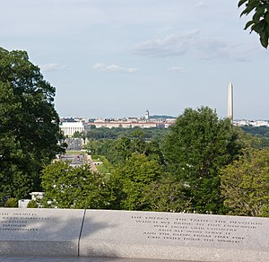 John F. Kennedy Eternal Flame - View across the Arlington Memorial Bridge to the Lincoln Memorial and Washington Monument.