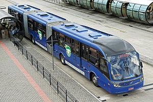Neobus (Brazil) - The 28 meters Neobus Mega BRT Bi-articulated bus. One of the longest buses in the world.