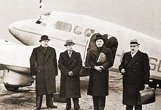 Stasys Raštikis - Lithuanian delegation to Moscow (Raštikis is second from left) during the negotiations for the Soviet–Lithuanian Mutual Assistance Treaty